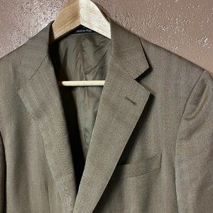 CARUSO Beige Herringbone Blazer Wool Silk US 38